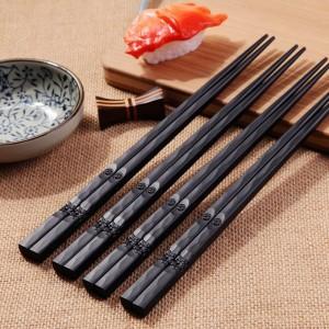 Japanese Chopsticks Alloy Non-slip Sushi Food Sticks Chop Sticks Chinese Gift Reusable Chopsticks Household Kitchen Supplies d4