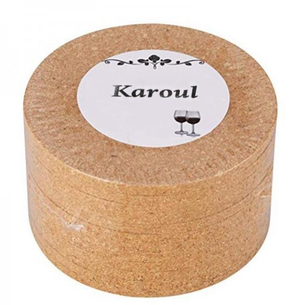 Karoul natural cork coaster, round 4-inch 12-piece set, used for cold drinking glasses, etc