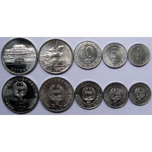 North Korea Coins Set 5 Pcs UNC Original Real World Coin Collectibles DPRK (1953-1989 Random Year) Collection