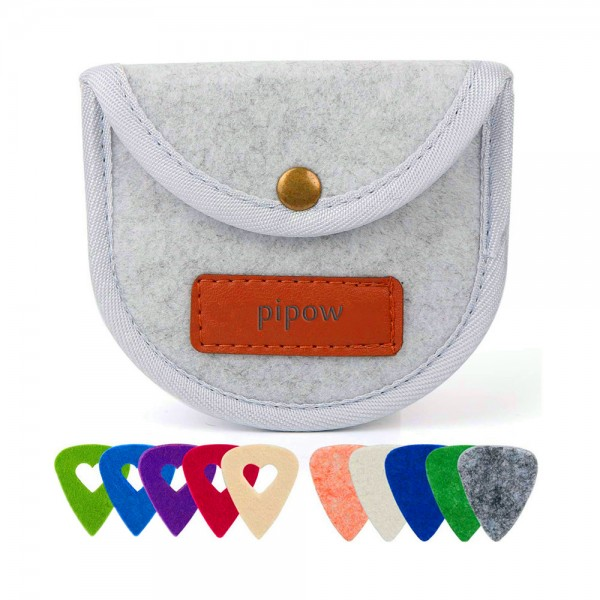 Pipow 3mm high quality 10 felt heart-shaped picks for ukulele guitar bass with pick storage box