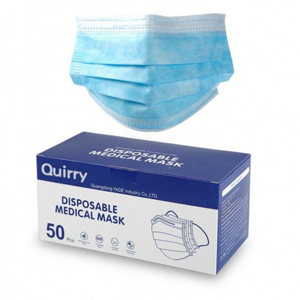 Quirry Disposable 3-layer surgical type medical mask for face